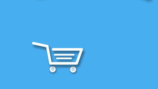 happy shopping tasche springen und tanzen auf einkaufswagen. animations-cartoon für werbung für den verkauf von produkten - plus stock-videos und b-roll-filmmaterial