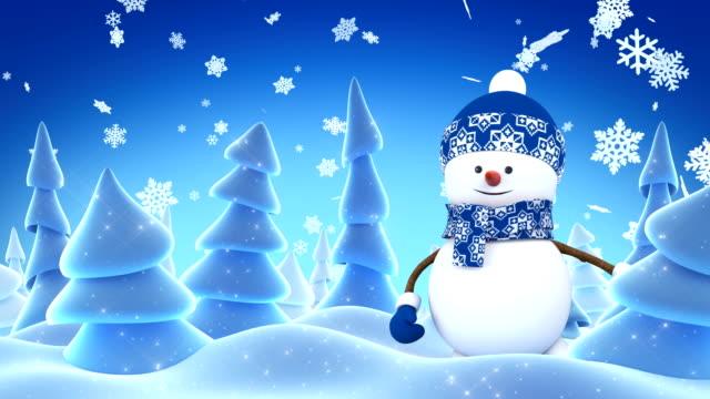 mavi mutlu kardan adam kap el ile tebrik ve akşam kış ormanda gülümseyerek. güzel 3d çizgi film animasyon. animasyonlu tebrik kartı merry christmas mutlu yeni yıl kavramı. - kep şapka stok videoları ve detay görüntü çekimi