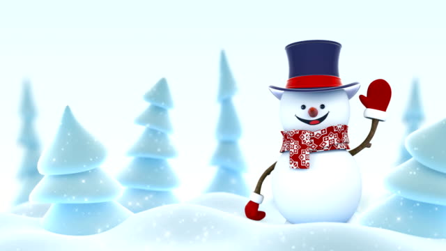 Happy Snowman in Cylinder Hat Greeting with Hand and Smiling in Winter Forest with DOF Blur. Beautiful 3d Cartoon Animation. Merry Christmas and Happy New Year Concept. Happy Snowman in Cylinder Hat Greeting with Hand and Smiling in Winter Forest with DOF Blur. Beautiful 3d Cartoon Animation. Merry Christmas and Happy New Year Concept. 4k Ultra HD 3840x2160. snowman stock videos & royalty-free footage