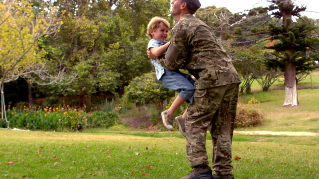 Happy soldier reunited with his son video