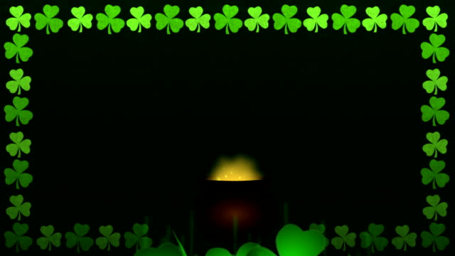 Happy St. Patrick's Day Animation with Golden Coins and Shamrock video