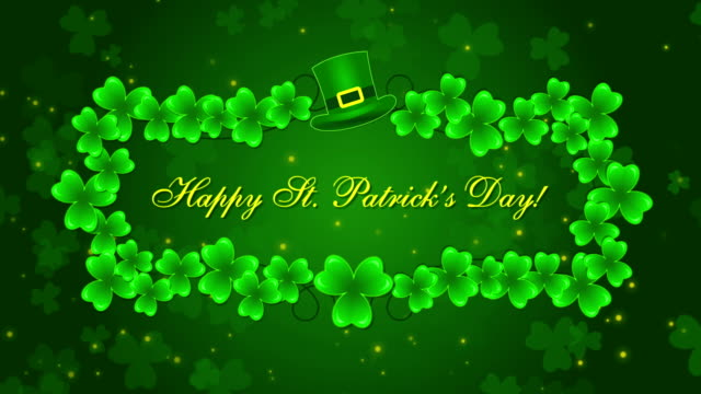Happy St. Patrick's Day with a shamrocks on the green background video