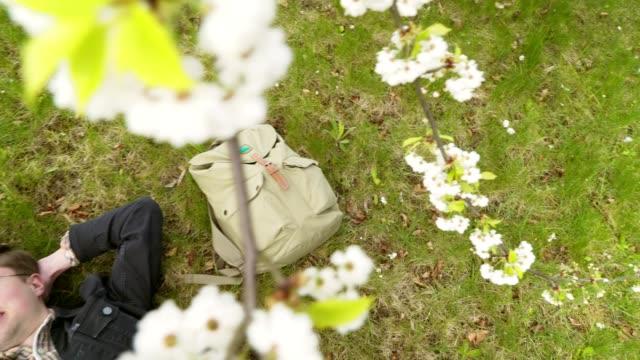 Um estudante feliz repousa à sombra das árvores da Primavera após um dia de sucesso - vídeo