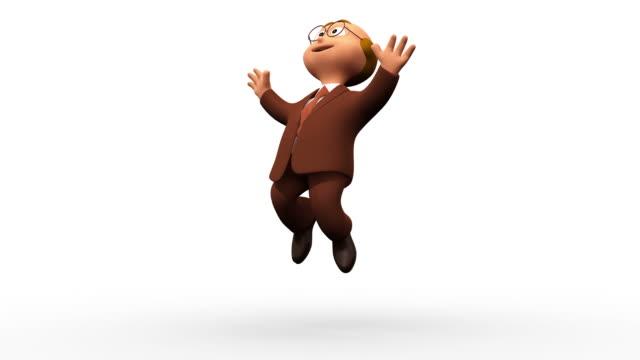 счастливый успешный бизнес человек, прыжки - характеры стоковые видео и кадры b-roll