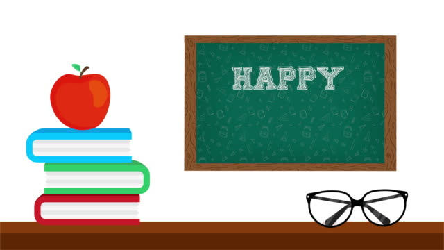 happy teachers day celebration with chalkboard and supplies video