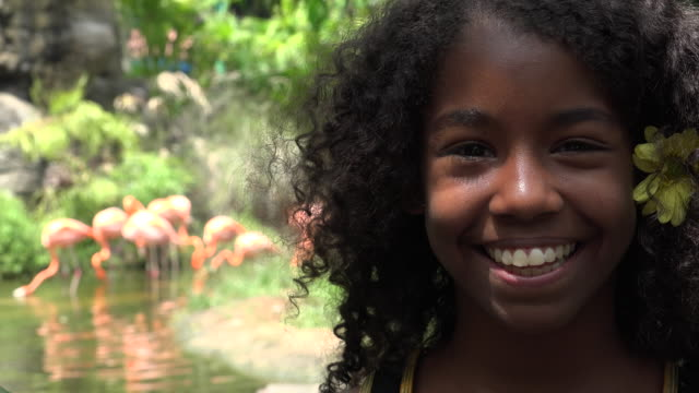 Happy Teen African Girl at Zoo video