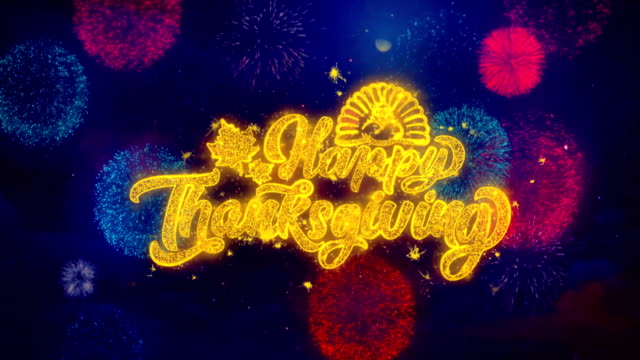 happy thanksgivin greeting text sparkle particles on colored fireworks - thank you background filmów i materiałów b-roll