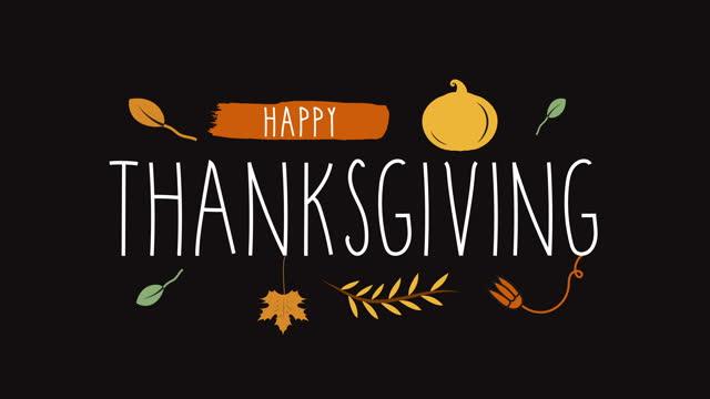 mutlu şükran animasyonlu el yazısı metin. - happy thanksgiving stok videoları ve detay görüntü çekimi