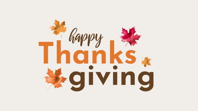 suluboya yaprakları ile happy şükran animasyon - happy thanksgiving stok videoları ve detay görüntü çekimi