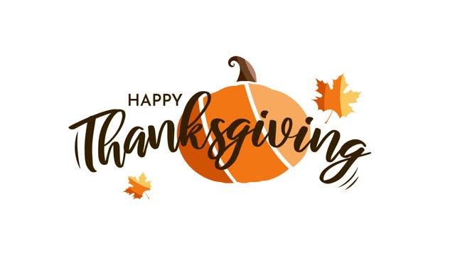 balkabağı ile mutlu şükran günü kartı. animasyon - happy thanksgiving stok videoları ve detay görüntü çekimi