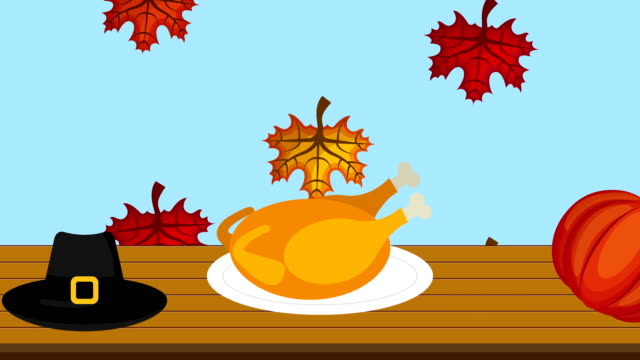 happy thanksgiving celebration with turkey cooking
