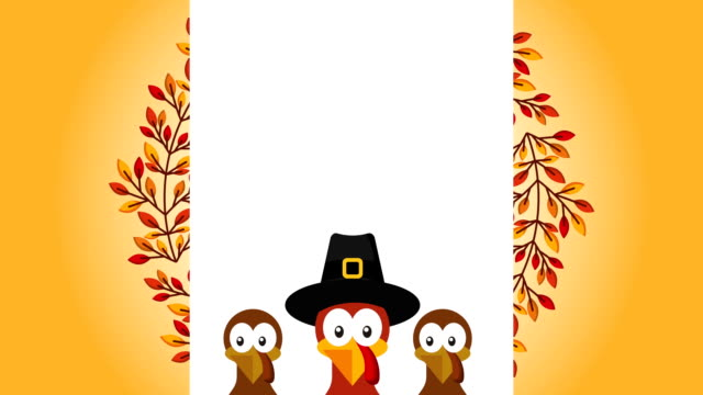 happy thanksgiving celebration with turkeys - турция стоковые видео и кадры b-roll
