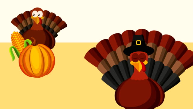 happy thanksgiving celebration with turkeys