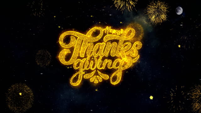 happy thanksgiving text wishes reveal from firework particles greeting card. - thank you background filmów i materiałów b-roll