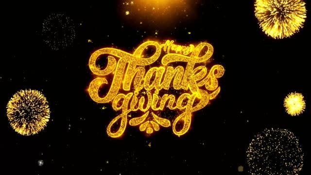 快樂感恩祝福問候卡, 邀請, 慶祝煙花迴圈2 - thank you background 個影片檔及 b 捲影像