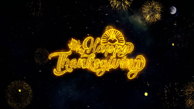 happy thanksgiving_1 text wishes reveal from firework particles greeting card. - thank you background filmów i materiałów b-roll