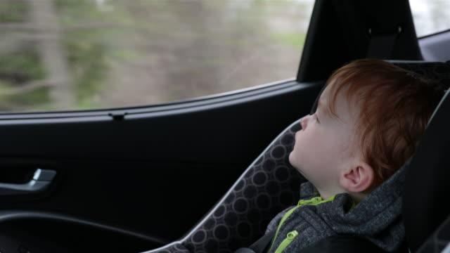 happy toddler boy secure in car seat on road trip - neonati maschi video stock e b–roll