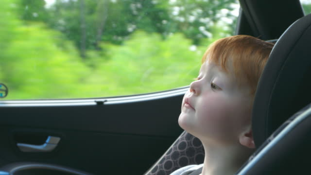 happy toddler boy secure in car seat on road trip - canada travel stock videos and b-roll footage