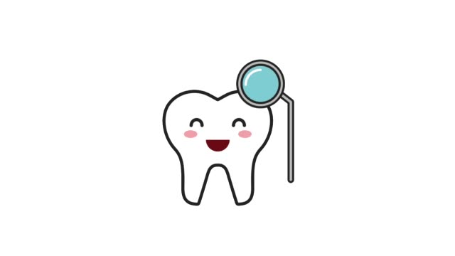 happy tooth character with hygiene tool - icon set healthy video stock e b–roll