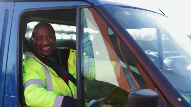 happy truck driver - furgone video stock e b–roll