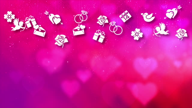 Happy Valentine Theme Motion Particles Background