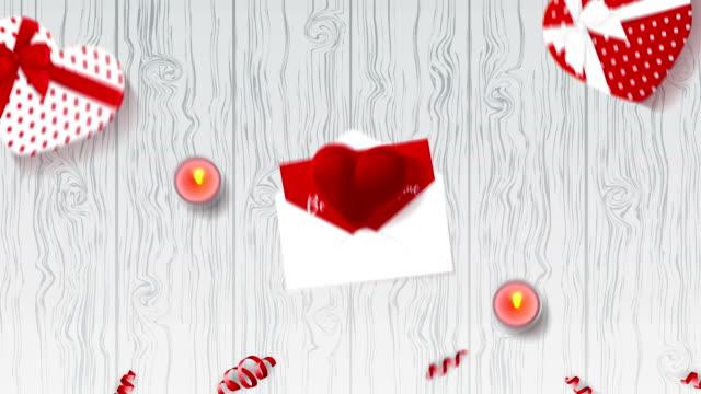 幸せなバレンタインデーのアニメーション背景 - バレンタイン点の映像素材/bロール