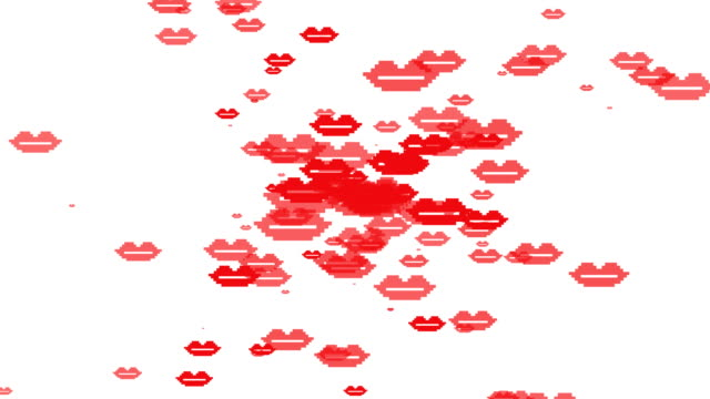 Happy Valentine's Day banner. Motion design. Digital greeting e-card. Animation illustration. Beating heart and red lips on white background. Digital pixel valentine card. Flat style with particles kissing stock videos & royalty-free footage