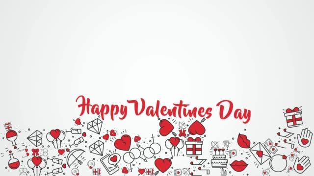 4K Happy Valentine's Day icons falling