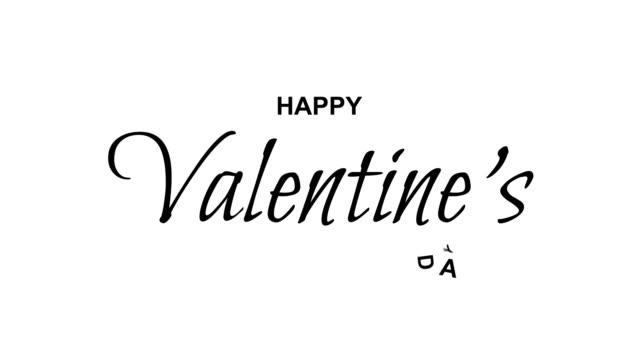 幸せなバレンタインデーのテキスト。アルファ チャネル、4 k - バレンタイン点の映像素材/bロール