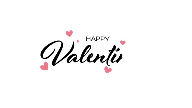 Happy Valentine's Day Happy Valentine's Day typography handwritten calligraphy text with heart popup on white background. For Valentines day concept valentines day stock videos & royalty-free footage