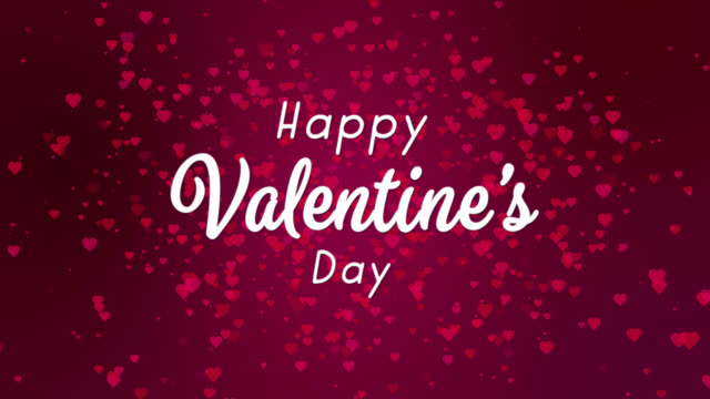 Happy Valentine's Day White Text Abstract Purple Backgrounds With Red Hearts