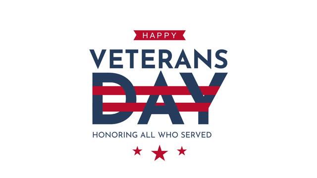 해피 재향 군인의 날. 애니메이션 인사말 카드. - veterans day 스톡 비디오 및 b-롤 화면