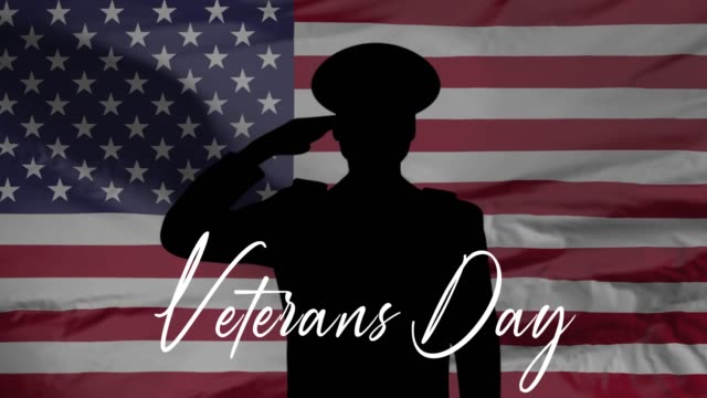 happy veterans day, honoring all who served, usa flag, hd animation, web 4k banner. - veterans day filmów i materiałów b-roll