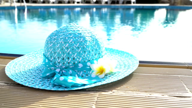 Happy Weekend background, design hat on swimming pool edge with blurred blue water video