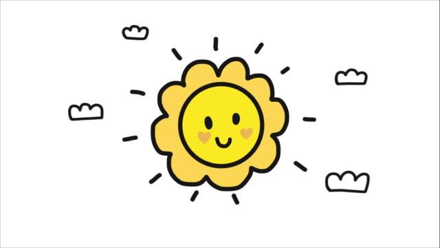 하늘 만화에 행복한 주말 단어와 귀여운 태양 - black friday 스톡 비디오 및 b-롤 화면