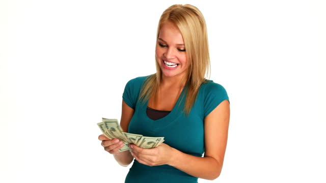HD: Happy Woman Counting Cash video
