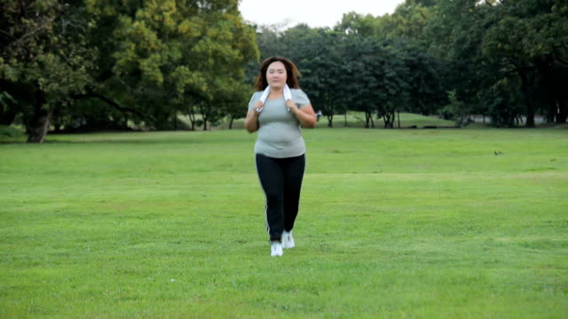 Happy woman jogging in a park Happy asian woman jogging in a park to loose weight fat nutrient stock videos & royalty-free footage