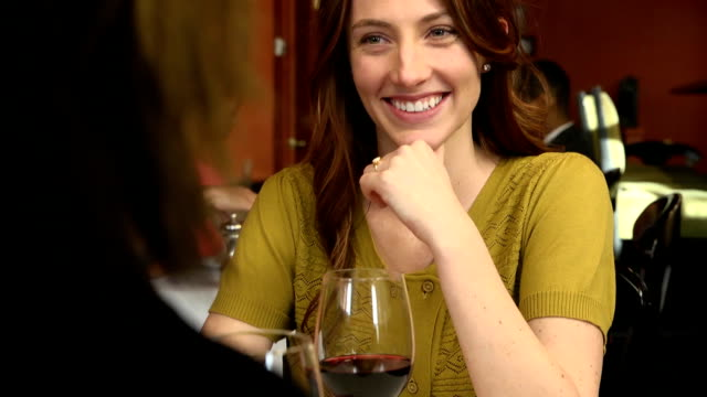 Happy Woman on a Date in Restaurant video