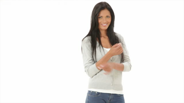 Happy woman on white video