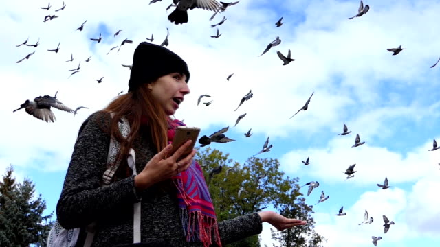 A happy woman with a smartphone laughs while feeding doves in slo-mo video