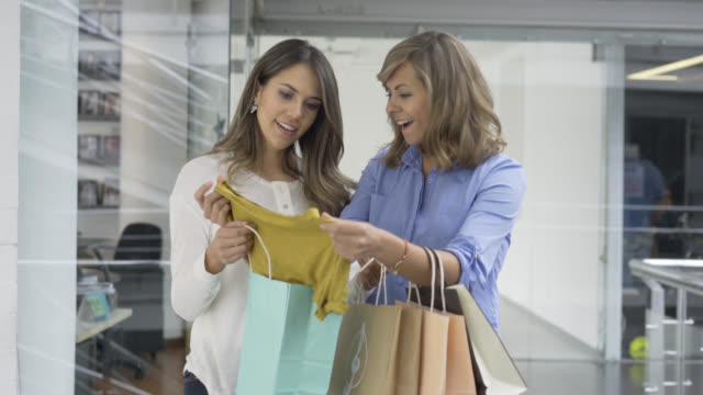 Happy women in a shopping center carrying their purchases video