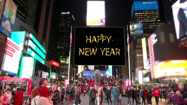 happy year new york commercial sign times square people billboards video