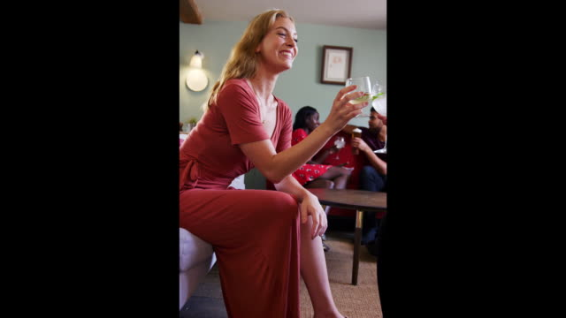 Happy young adult woman laughing as she raises her glass to a friend, sitting in the lounge room at a pub, vertical shot Happy young adult woman laughing as she raises her glass to a friend, sitting in the lounge room at a pub, vertical shot full length stock videos & royalty-free footage