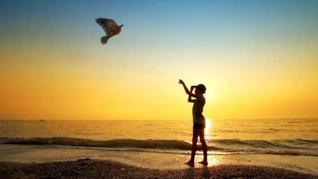 Happy young boy flying kite on the beach at sunset, slow motion