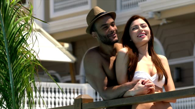 Happy Young Couple enjoying in Tourist resort