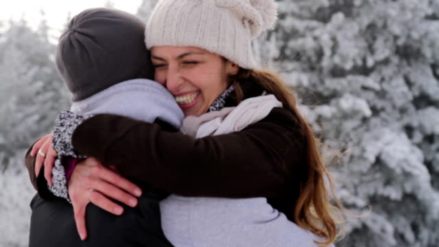 Happy Young Couple Hugging Outdoors Nature Winter Snow video