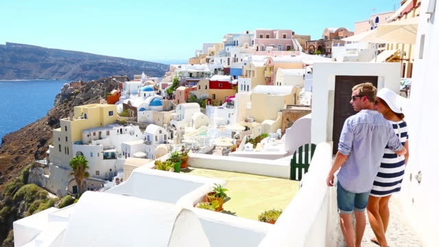 HD: Happy young couple on Santorini island, Greece video