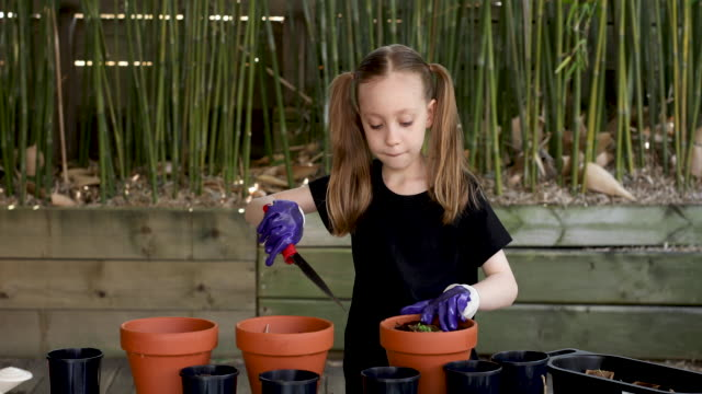 happy young girl gardening - 8 9 anni video stock e b–roll