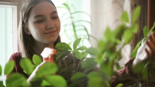 Happy young girl watering green plants at home