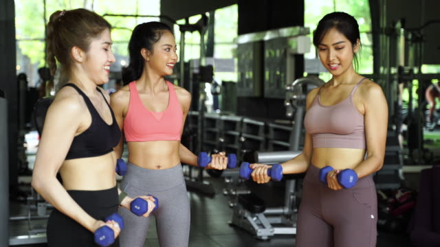 Happy young multiracial team of female athletes in sportswear training together with dumbbells in fitness club